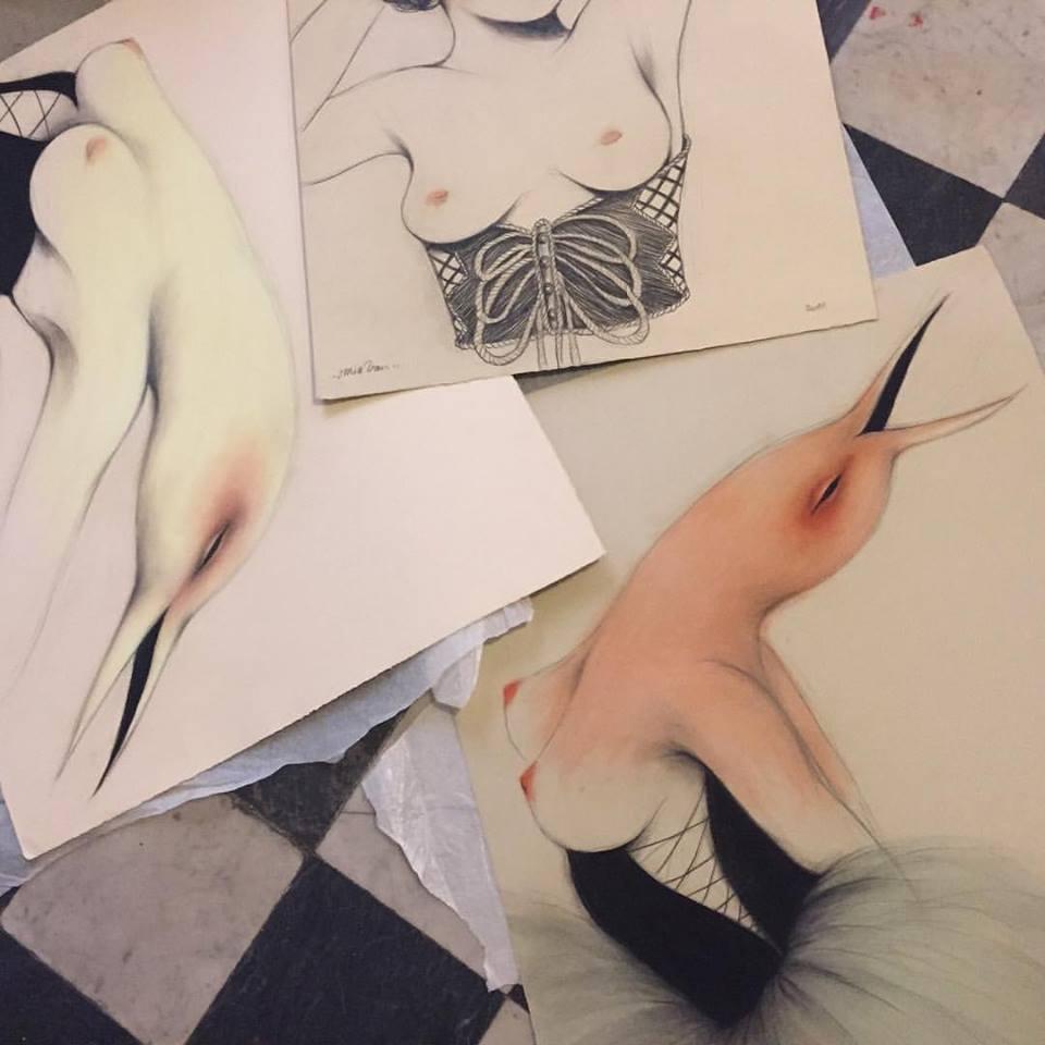 Selecting drawings for Ch.ACO Art Fair